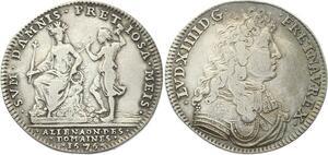 O3383 Rare R2 Jeton Louis XIV Maison Roi Alinéation Domaines 1676 Argent