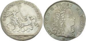 O3423 Rare Jeton Louis XV Royal Aurore Flambeau 1715 Argent SUP ->M offre