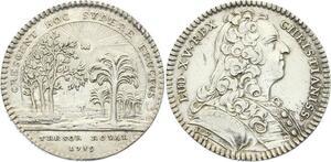 O3448 Jeton Louis XV Trésor Royal Avec rayons soleil 1739 Argent Silver