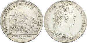 O3455 Rare Jeton Louis XV Trésor Royal Inexhaustis Generosa 1732 Argent SUP