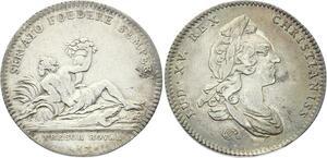 O3469 Jeton Louis XV Trésor Royal Nil Couché Crocodil 1748 Argent Silver ->FO