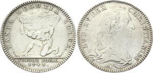 O3478 Jeton Louis XV Trésor Royal Globe Zodiaque Altas 1743 Argent Silver