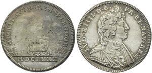 O3485 Rare Jeton Louis XIV 1680 Gros diamant monté en bijou Argent Silver
