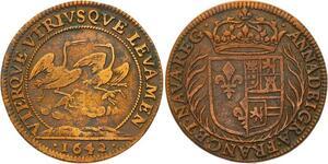 O3494 Rare R2 Jeton Louis XIII Anne Autriche Austria 1642 Cigognes ->M offre