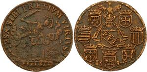 O3536 Rare R2 Jeton duche Lorraine Charles III duc Reconstitution Trésor 1587