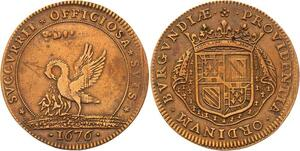 O3550 Jeton Louis XIV Bourgogne Suppression Francs Fiefs Acquets 1676 pélican