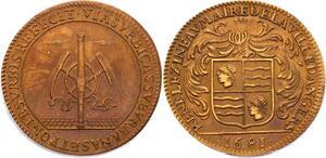 O3563 Rare Jeton Louis XIV Anjou Angers René Lezineau Maire 1681 Superbe