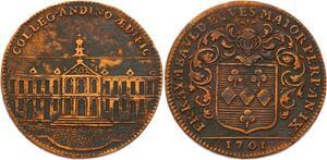 O3575 Jeton Louis XIV College Anjou Noblesse Francois Raimbauld Angers 1701