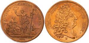O3593 Rare Jeton Louis XIV Parties Revenus Casuels 1715 FDC ->Make offer