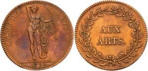 O3594 Rare Constitution Jeton Louis XVI Lycée Arts 1792 Splendide ->Make offer