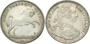 O3613 Rare Jeton Louis XV Ecurie Royale du Roi Cheval Horse Argent