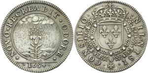 O3680 Rare Jeton Conseil du Roi Louis XIV 1654 rosée céleste Argent Silver
