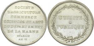O3703 Rare R2 Jeton Societe Agriculture Commerce Marne Argent Silver 1797 SPL