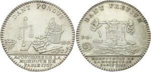 O3708 Jeton Louis XIV Cour des Monnaies Paris Argent Silver 1767 Superbe ++