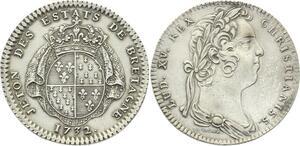 O3726 Rare Jeton Louis XV Etats Bretagne Rennes 1732 Argent Silver SUP