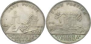 O3836 Rare Jeton Louis XV Cour des Monnaies balancier 1767 Argent Silver SUP