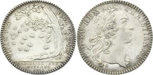 O3847 Jeton Louis XV Ordinaires des guerres 1745 Engager sa vie Argent SUP