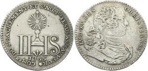 O3908 Rare Jeton Louis XVI Compagnie Sacrement Jésus Saint Sauveur 1755 Argent
