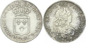 O3938 Rare Louis d'argent 1/3 Ecu de France Louis XV 1721 A Paris Argent Silver