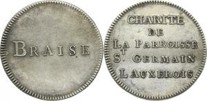 O3971 Rare Jeton Braise Paroisse Paris Saint-Germain Louvre Argent SUP