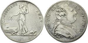 O3981 Rare Jeton Louis XVI Franc Maçonnerie Loge Amis Liberté Argent