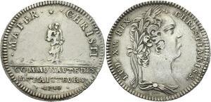 O3988 Rare R2 Jeton Louis XV Communauté des Traiteurs 1719 Argent Silver