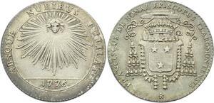 O3993 Rare Jeton Auvergne Francois de Bonal Evèque Clermont 1776 Argent SUP