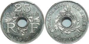 O1 Rare 25 Centimes Essai Guis 1913 PGCS SP65 FDC