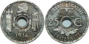 O17 Rare 25 Centimes Essai 1914 PGCS SP66 FDC -> Make offer