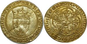 O49 Rare Ecu d'or Charles VI 1380-1422 Montpellier Gold Or Splendide -> F O