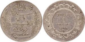 O131 Tunisie 1 Franc Muhammad Al-Nasir Protectorat Francais 1916 Argent Silver