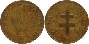 O182 Afrique Equatoriale Francaise 50 Centimes Liberté 1942 -> Make offer