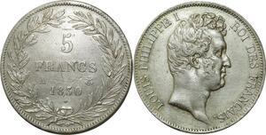 O262 Rare 5 Francs Louis Philippe Tiolier 1830 A Paris Relief Argent