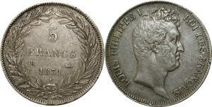 O263 5 Francs Louis Philippe Tiolier 1831 B Rouen Tr Creux Argent Silver