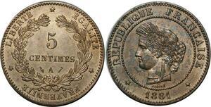 O298 Rare 5 Centimes Cérès 1881 A Paris Splendide -> Make offer