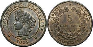 O299 Rare 5 Centimes Cérès 1882 A Paris Splendide +++ -> Make offer