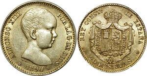 O315 Spain 20 Pesetas Alfonso XIII 1890 M Madrid Or Gold