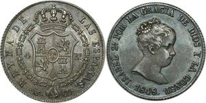 O334 Scarce Spain 4 Reales Isabel II 1848 M Madrid UNC !! GEM