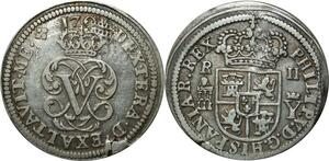 O335 Scarce Spain 2 Reales Philippe V 1708 Argent Silver