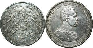 O339 Germany 5 Mark Wilhelm II 1913 Argent Silver A Berlin AU !!