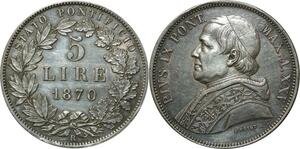 O340 Scarce Vatican 5 Lire Pivs IX 1870 R Roma Argent Silver AU !!> Make Offer