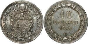 O344 Scarce Vatican 10 Baiocchi Pivs IX 1850 Argent Silver R Rome BU !!!  UNC