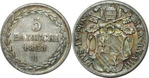 O348 Vatican 5 Baiocchi Pivs IX 1858 R Rome Argent Silver UNC !!! Luster