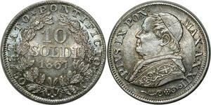 O349 Vatican 10 Soldi Pivs IX 1867 R Rome Argent Silver MS !!! BU !!! 66 67