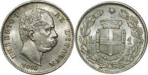 O353 Rare Italy 1 lire Umberto I 1900 Argent Silver R Roma Splendide
