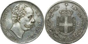 O354 Rare Italy 2 lire Umberto I 1887 Argent Silver R Roma UNC !!!