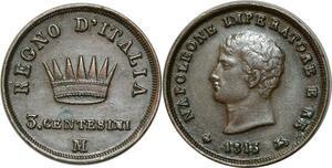 O357 Italy 3 centesimi Napoléon 1813 M Milan > Make Offer