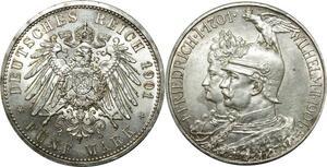 O370 Germany 5 Mark Friedrich Wilhelm II 1901 Argent Silver D Munich UNC !!!