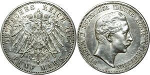 O371 Germany 5 Mark Wilhelm II 1907 Argent Silver > Make Offer