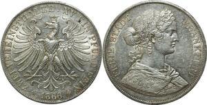O374 Scarce Germany 2 Vereinsthaler Frankfurt Freie Stadt 1866 Silver AU !!!